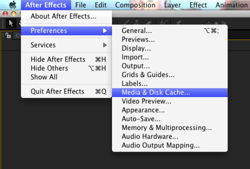 After Effects Disk Cache